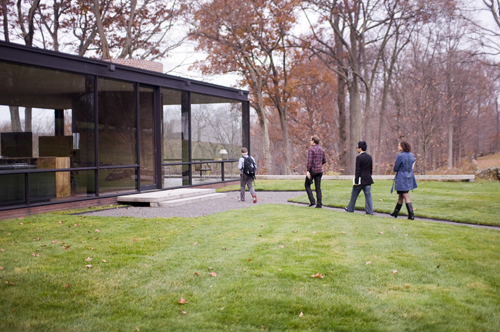 Four Members Of The Student Team Roaching Glass House On Their Tour From Left To Right Eric St Onge Russ Maschmeyer Derek Chan Katie Koch